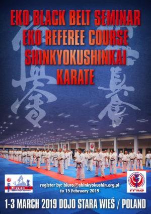 Black belt seminar 1.-3. března 2019 Shinkyokushin Karate v Polsku